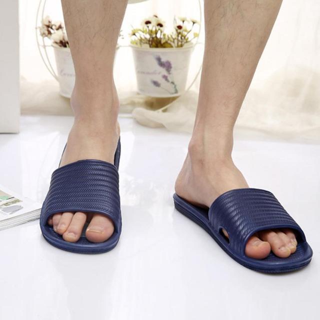 Man Stripe Flat Bath Slippers Summer Sandals Indoor & Outdoor Slippers 4