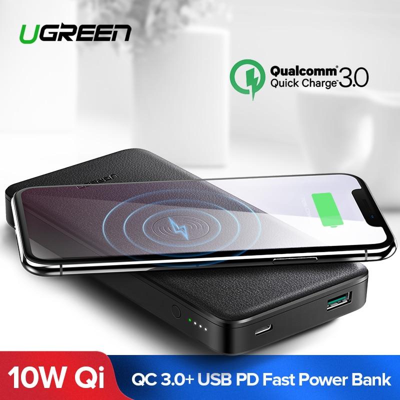 Ugreen 10000 mAh Qi Sem Fio Carregador Power Bank 18 W USB Powerbank Para iPhone X 8 Macbook Samsung S9 PD bateria externa Poverbank