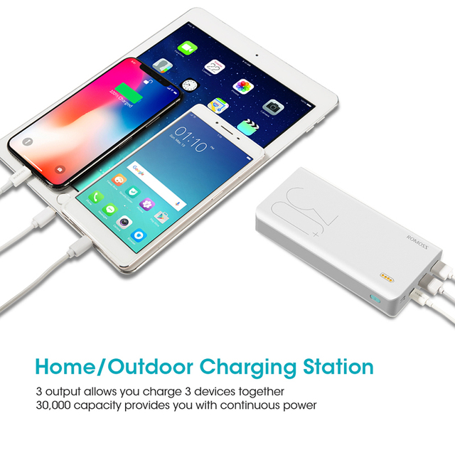 30000mah romoss sense 8+ power bank portable external battery with pd two-way fast charging portable powerbank charger for phone