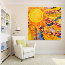 Abstract painting handmade modern wall art canvas pictures large sun decor for living room