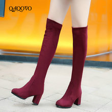 Women's Winter Boots Flock Knee High Boots Fashion High Heel Long Boots Slip On Sexy Stretch Boots Autumn Shoes Woman 2019 New цены онлайн
