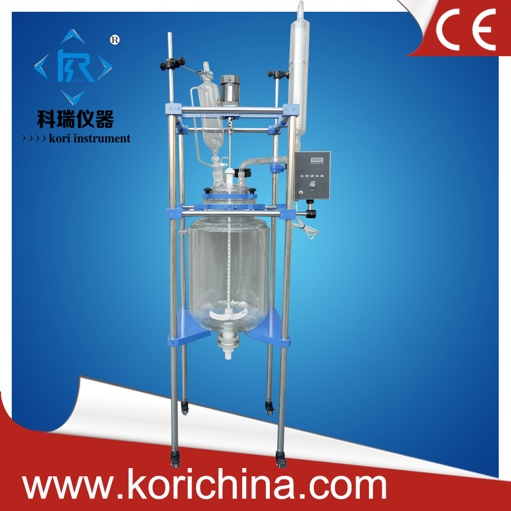 10L Double layer Chemical Glass Reation flask CE approved Bio Glass Reactor with condenser dropping /Reflux flask PTFE Seal stirring motor driven single deck chemical reactor 20l glass reaction vessel with water bath 220v 110v with reflux flask