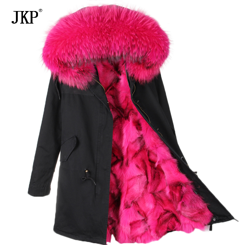 2017 New Winter Women Winter Coat Parkas Real Raccoon Fur Collar Hooded Fox Fur Lining Winter Jacket 2017 winter new clothes to overcome the coat of women in the long reed rabbit hair fur fur coat fox raccoon fur collar