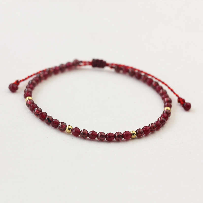 Natural Stone Garnet Beads Bracelet Thin Multi-Faceted Handmade Weave Red String Bangles Bracelets For Women Adjustable Bileklik