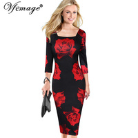 Vfemage Womens Elegant Vintage Flower Floral Print Square Neck Casual Party Evening Special Occasion Pencil Sheath