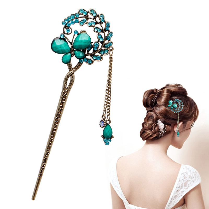 Details about  /Vintage Wooden Rhinestone Fox Hair Stick Hair Accessories Chignon Hairpin Pin