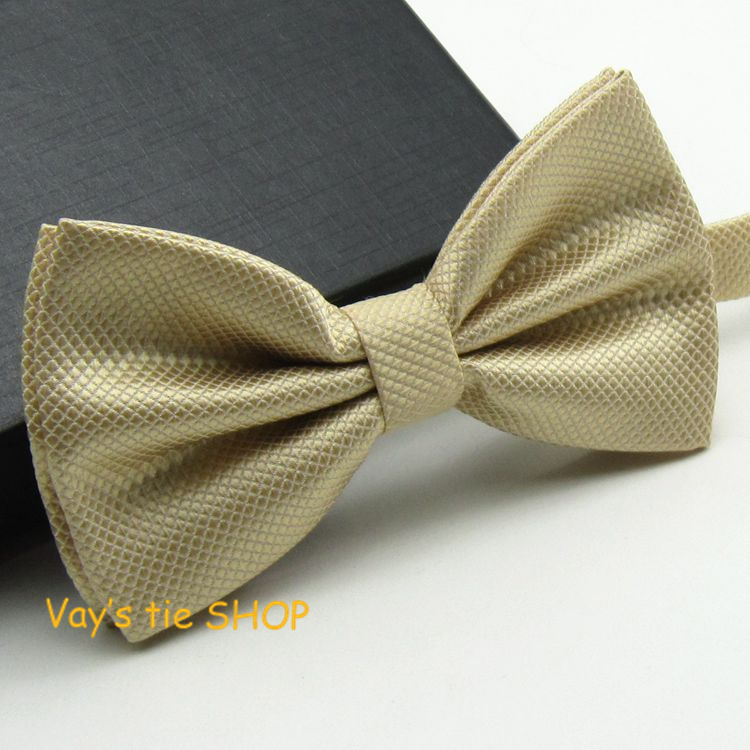 2014 New XMAS Gift Mens Fashion Dull Jacquard Plaid Grid Leisure Solid Bowtie Wedding Tuxedo Bow Ties Free Shipping Champagne