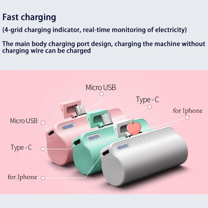NOHON Wireless Mini 3000mAh Power Bank Charger For iPhone Xiaomi Huawei Samsung 3