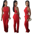 Red Elegant Jumpsuit Long Pants Sexy One Piece Outfits Club Wear Hollow Backless Playsuit Macacao Feminino 2016 Autumn Winter