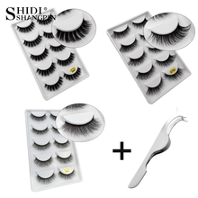 SHIDISHANGTPIN 5 pairs mink false eyelashes natural 3d eye lashes soft makeup eyelash tweezers thick fake