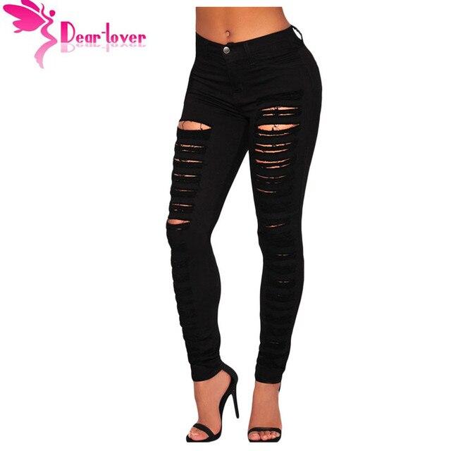 6941e5427 Caro Amante Da Moda Casuais Jeans Preto Destruído Buraco-cintura Alta  Rasgado Calças Jeans Skinny