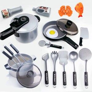 Image 4 - เด็กของเล่นเด็กเล่นของเล่นเครื่องครัวชุด Miniature Kitchen กระทะหม้อกาต้มน้ำ Faked ของขวัญอาหาร