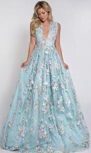 Charming A line V Neck Appliques Lace Hand Made Flowers Long Formal Evening Gown Dress