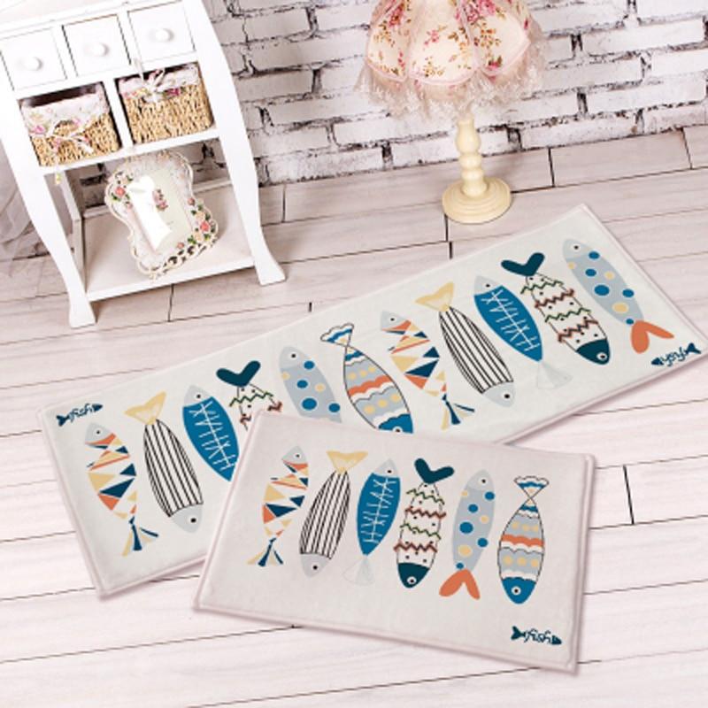 40cmX60cm 2017 New 1pcs Colorful Suede Floor Mats Bedside Carpets Bathroom Mat Fish Pattern Kitchen Non-slip Mat Shower Carpet
