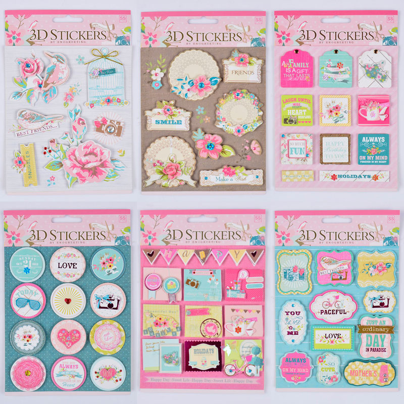 3D STICKERS European Deocrative DIY Adhesive Stickers Photo Album Scrapbooking Decoration Kids Craft