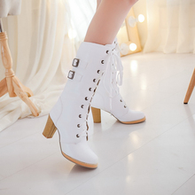 2016 fashion women's lace up knee high boots lady autumn winter high heels shoes woman platform yellow black white high boots
