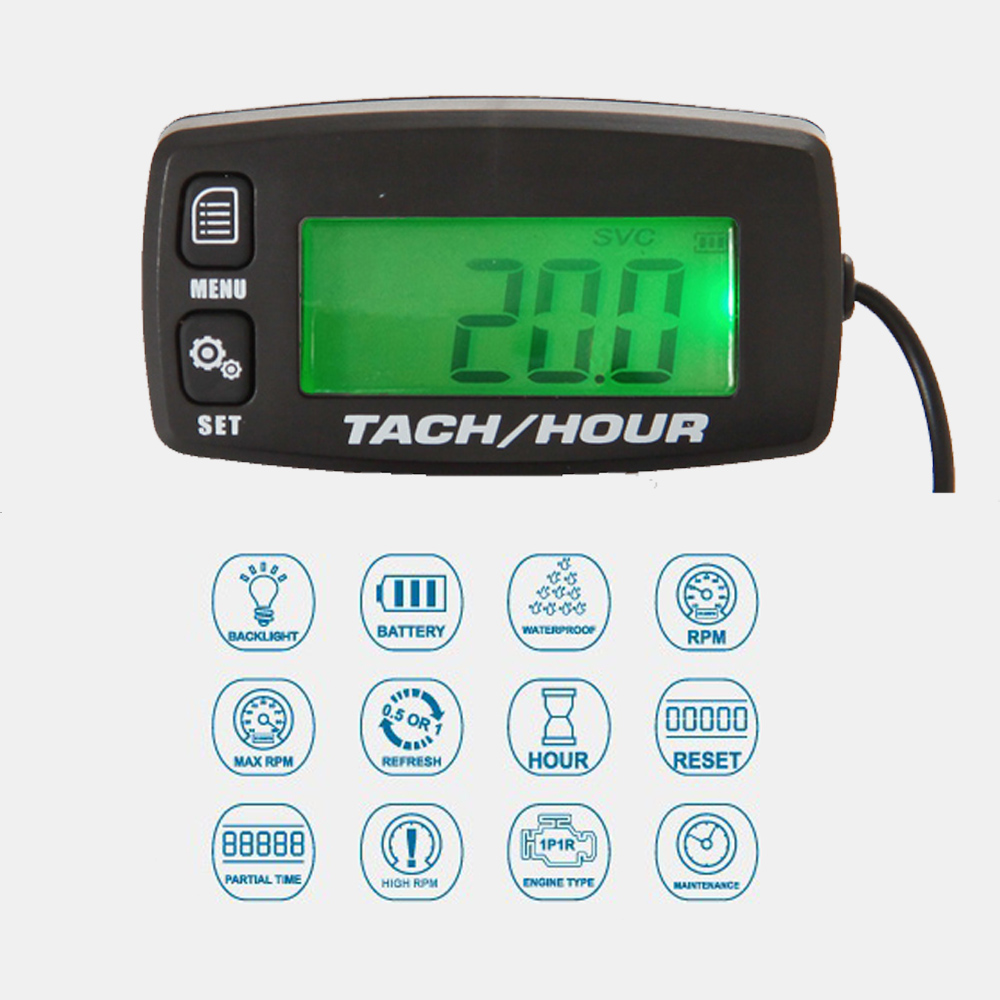 Hour Meter Tachometer Gauge Backlight Digital inductive Tach / Hour meter untuk mesin pemotong rumput ATV Motocross MARINE Gas Engine