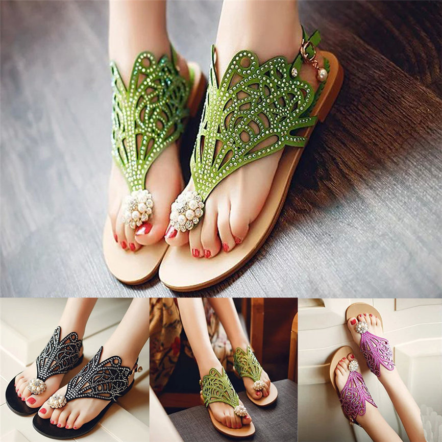 Attent Vrouwen Shose Vitage Vrouwen Strass Platte Hak Anti Slippen Beach Schoenen Rome Sandalen Slipper 2019 Fashion Schoenen Voor Vrouwen M #3