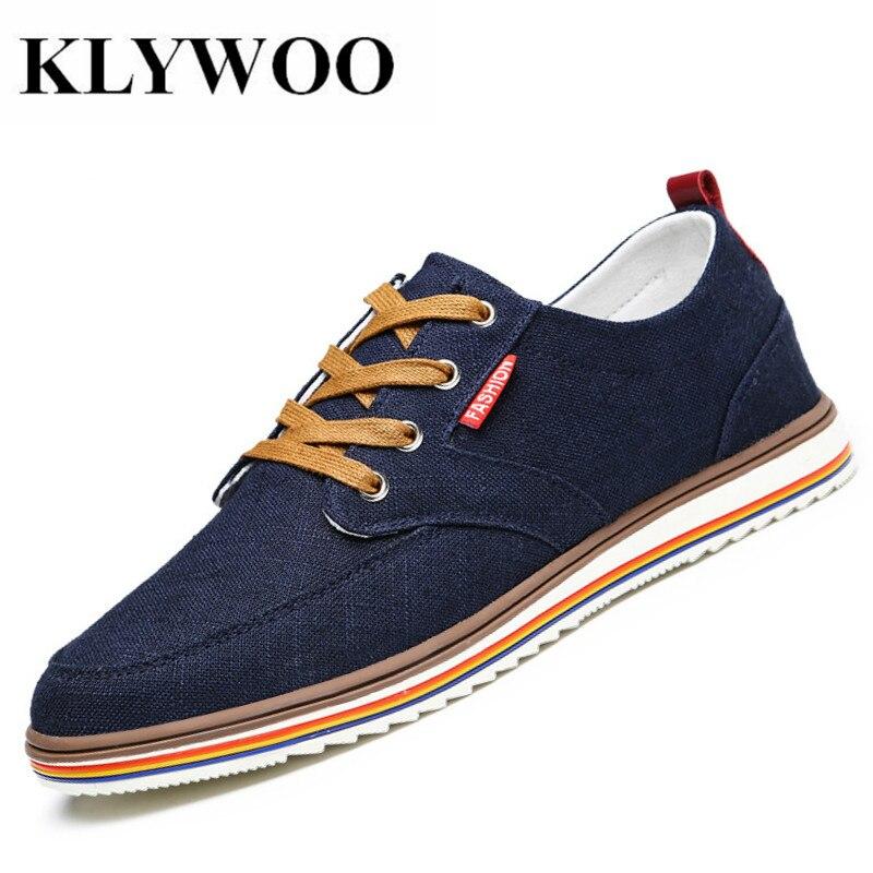 KLYWOO grande taille 39-48 Printemps Hommes chaussures décontractées mocassins aérés chaussures de toile Hommes Sneakers Marque De Luxe De Mode chaussures pour hommes