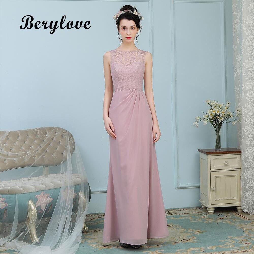 BeryLove Elegant Blush Pink Evening Dresses Long Lace Prom Dresses ...