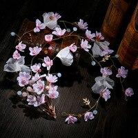 美しい花嫁の頭飾り桃花ソフトヘッドバンド花嫁ウェディングヘアアクセサリーチェーン頭飾