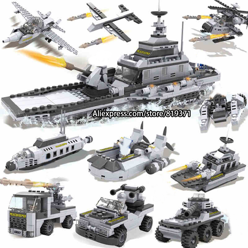 Фото 27 in 1 Army Warships Destroyer Tank Military Bricks Building Blocks Educational Toys for Kids Compatible with legoeINGlys 13007