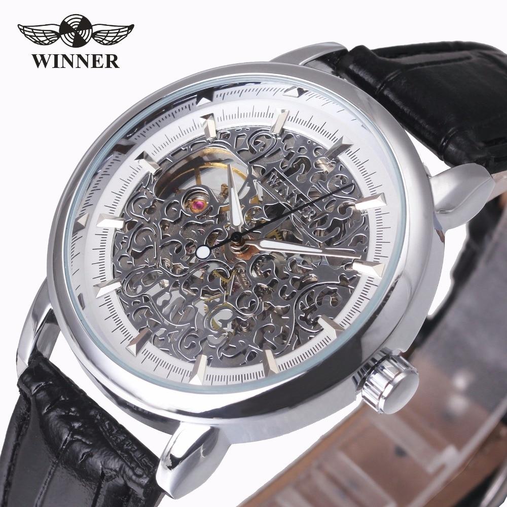 WINNER Women Watches Top Brand Luxury Mechanical Ladies Watch Genuine Leather Strap Creative Pattern Golden Bezel Female Clock