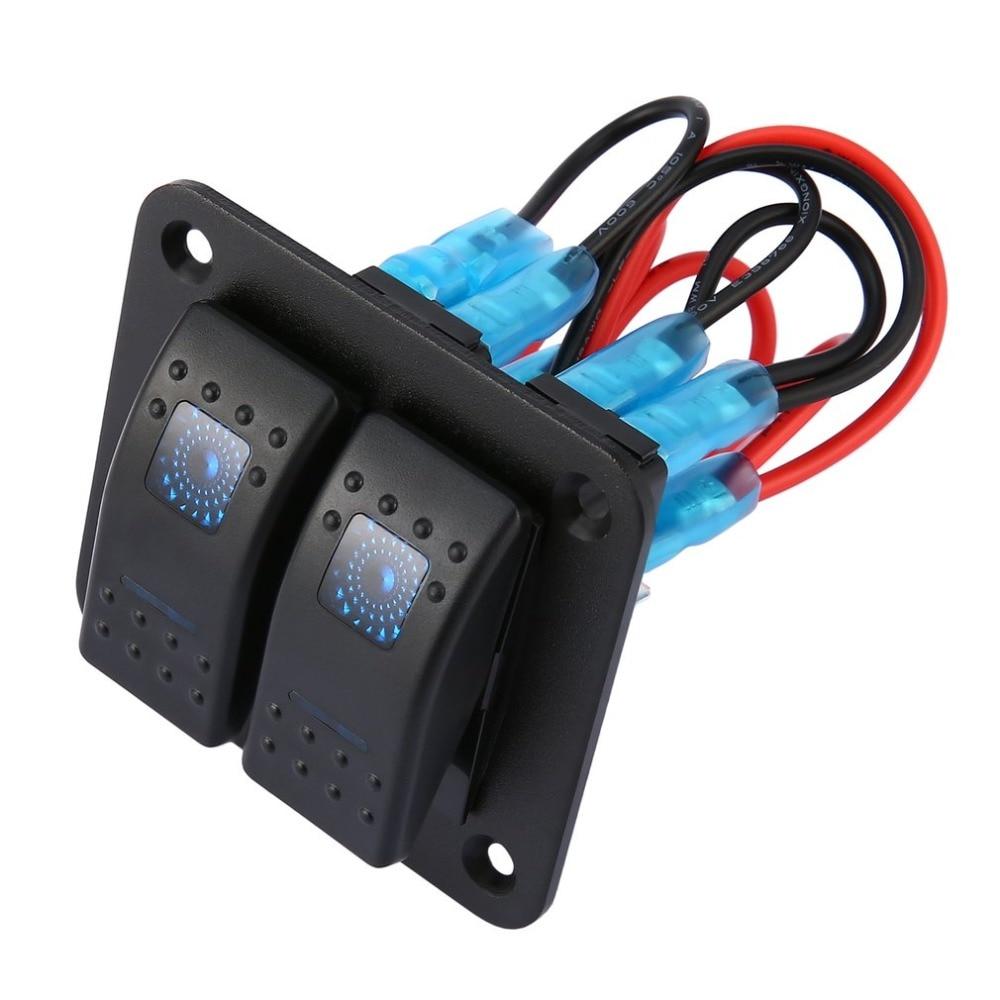 DC 12V 24V 2 Gang Rocker Switch Panel Dual LED Waterproof Rocker Switch Control Panel Circuit Breaker for Car Marine Boat