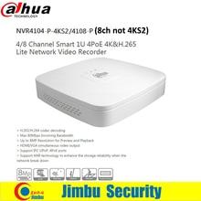 Dahua NVR 4 К видеомагнитофон NVR4104-P-4KS2 NVR4108-P 4Ch 8Ch H.265 Smart Mini 1U имеет 4 портов PoE сети заменить NVR4104-P
