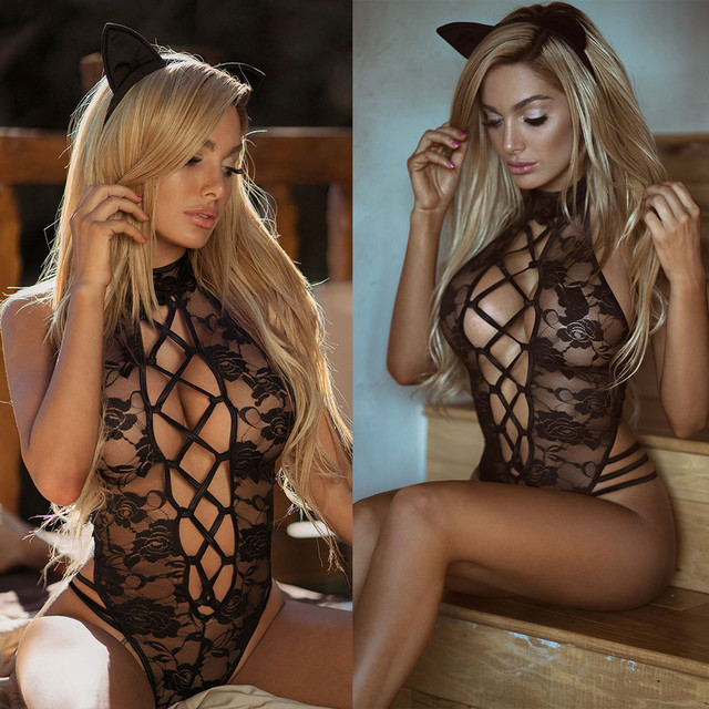 2018 New Sexy Lingerie Hot Black Lace Perspective Women Teddy Lingerie Cosplay Cat Uniform Sexy Erotic Lingerie Sexy Costumes 1