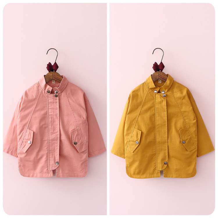 ФОТО Korean Children's Garment 2016 Autumn Pattern Girl Baby Classic Solid Color Windbreaker Loose Coat Girl Jacket Cardigan Smock
