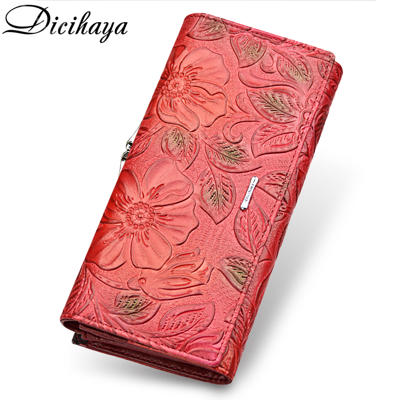 DICIHAYA Exclusive Design Leather Women Wallet Luxury Brand Design High Quality Women Purse Card Holder Long Clutch Phone Bag