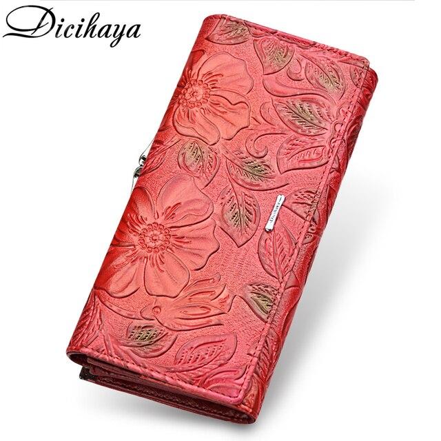 DICIHAYA Exclusive Design Leather Women Wallet Luxury Brand Design High Quality Women Purse Card Holder Long Clutch Phone Bag