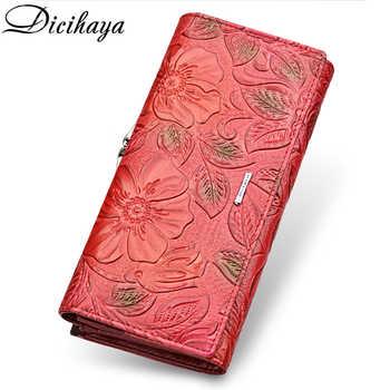 DICIHAYA Genuine Leather Women Wallet Luxury Brand Design High Quality Fashion Women Purse Card Holder Long Clutch bag phone bag - DISCOUNT ITEM  50 OFF Luggage & Bags