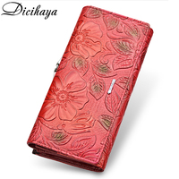 DICIHAYA Genuine Leather Women Wallet Luxury Brand Design High Quality Fashion Women Purse Card Holder Long Clutch bag phone bag