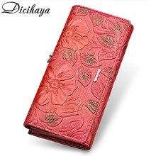 DICIHAYA ekskluzywny projekt skórzany portfel damski luksusowy projekt marki wysokiej jakości kobiety torebka posiadacz karty długi torebka na telefon komórkowy