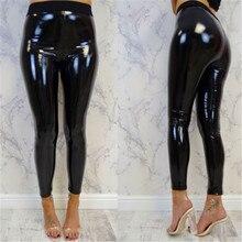 Leggings brillants en cuir PU pour femmes, pantalons mouillés, noir, rouge, Slim, taille haute