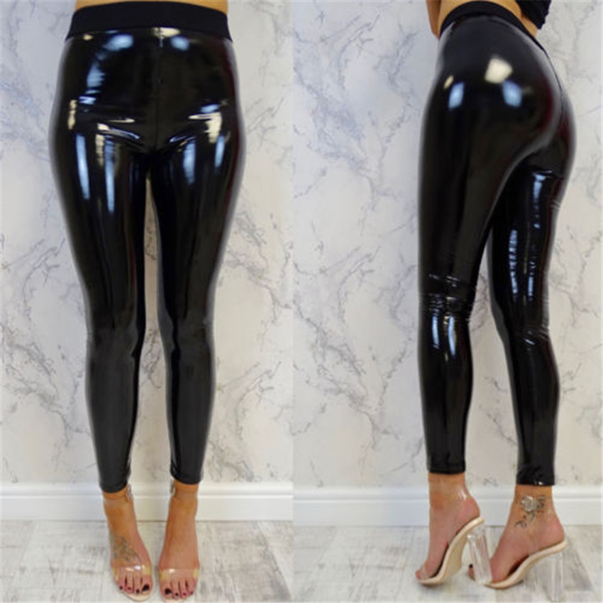 Women Shiny Leggings Wet Look PU Leather Leggings Black Red Slim High Waist Skinny Pants