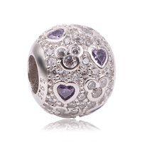 Couqcy 925 Sterling Silver Mickey Beads Purple Heart CZ Charms DIY Charms Big Hole Charm Bead