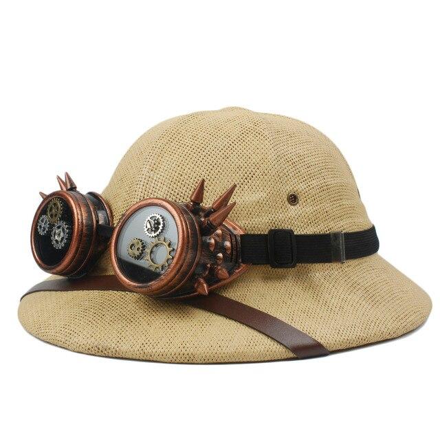 Novelty Straw Steampunk Helmet Pith Sun Hat Women Men Vietnam War Army Hat  Steam Punk Glasses Safari Jungle Miners Cap 56-59CM 611f9b73b39f