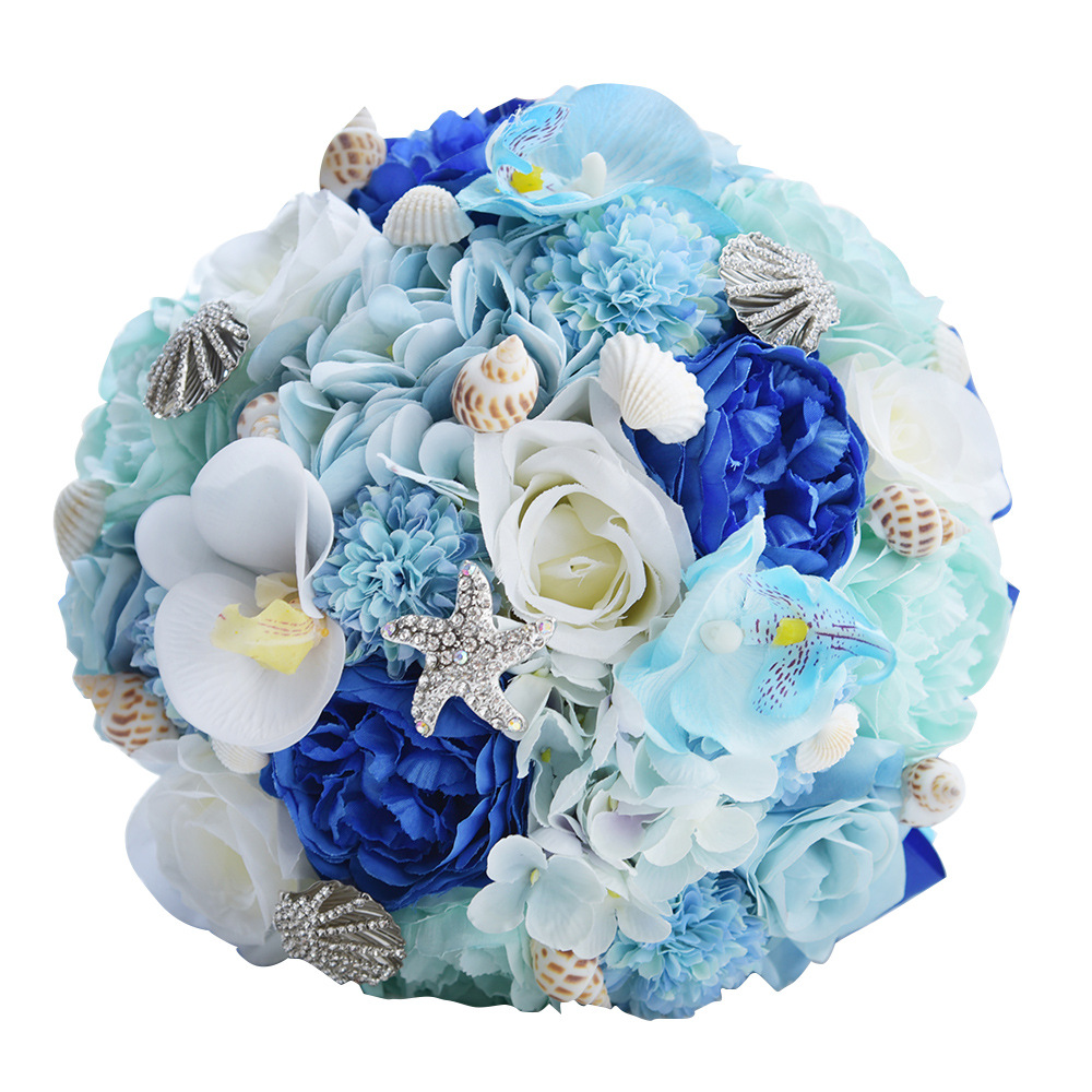 JaneVini Beach Wedding Flowers Bridal Bouquets With Beaded Silk Blue Roses Bride Brooch Bouquet De Mariage Artificiel 2018