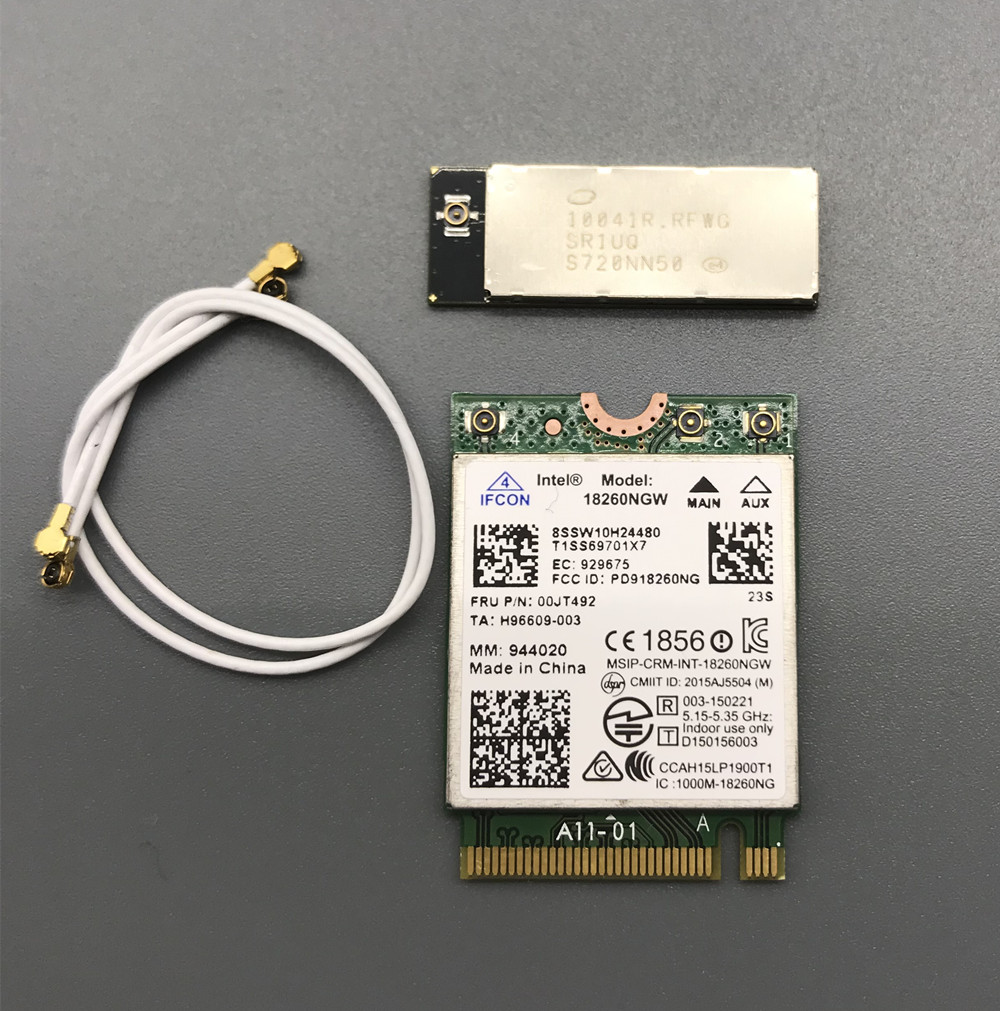 With Gigabit WiGig Antenna-M 10041R Set For Intel 18260 18260NGW 802.11ac 867Mbps Bluetooth 4.1 WiFi Card