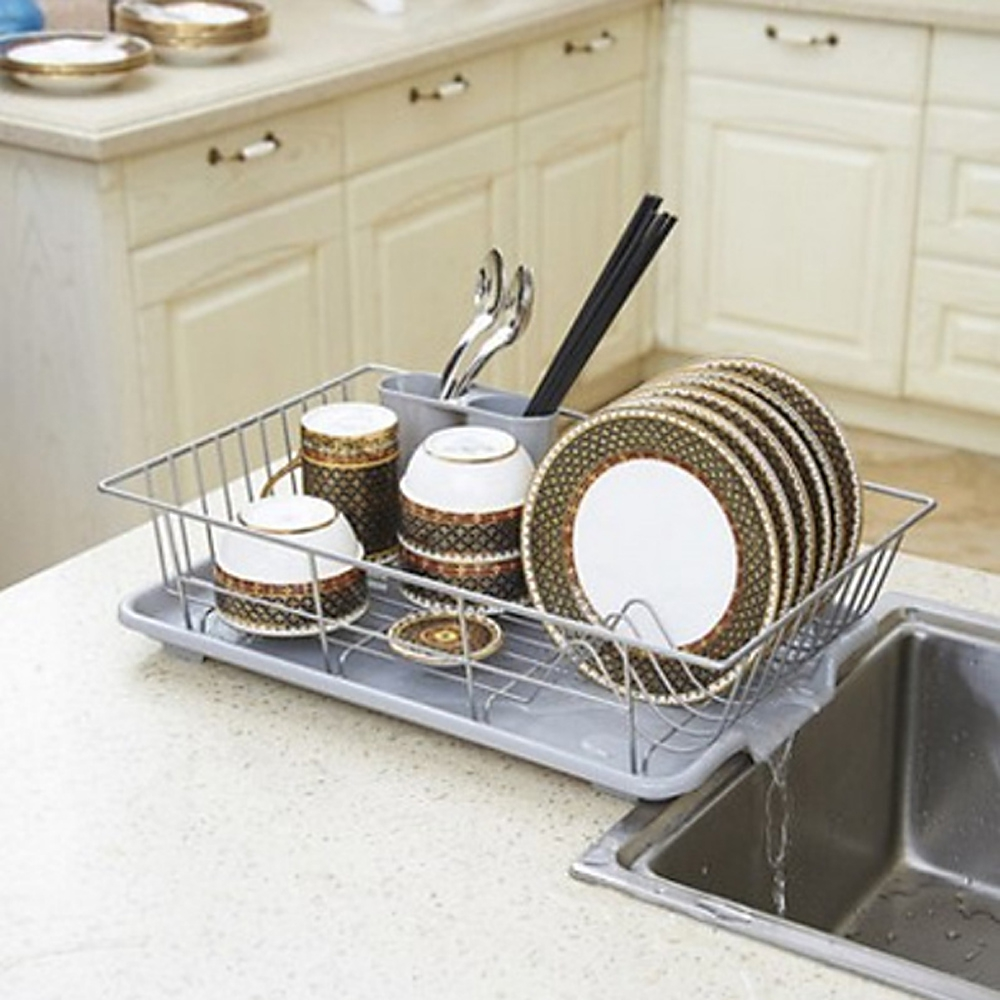 Stainless Steel Dish Rack Over Sink With Spoon Holder