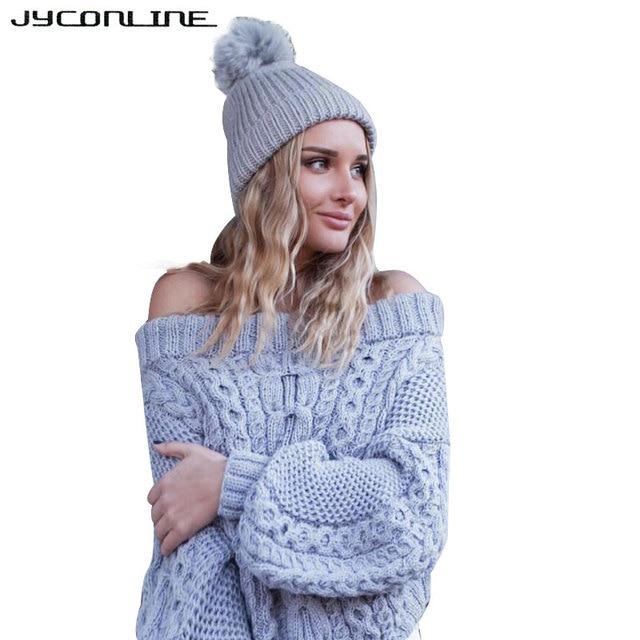 3b50032223 JYConline Winter Knitted Sweater Women 2017 Autumn Puff Sleeve Pullover  Sweaters Off Shoulder Sweater Slash Neck Jumper Femme
