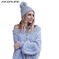 JYConline Winter Knitted Sweater Women 2017 Autumn Puff Sleeve Pullover Sweaters Off Shoulder Sweater Slash Neck