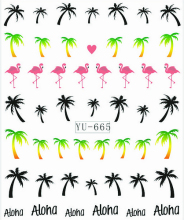1X  Nail Sticker Palm Tree Flamingos Water Transfers Stickers Nail Decals Stickers Water Decal Opp Sleeve Packing YU665