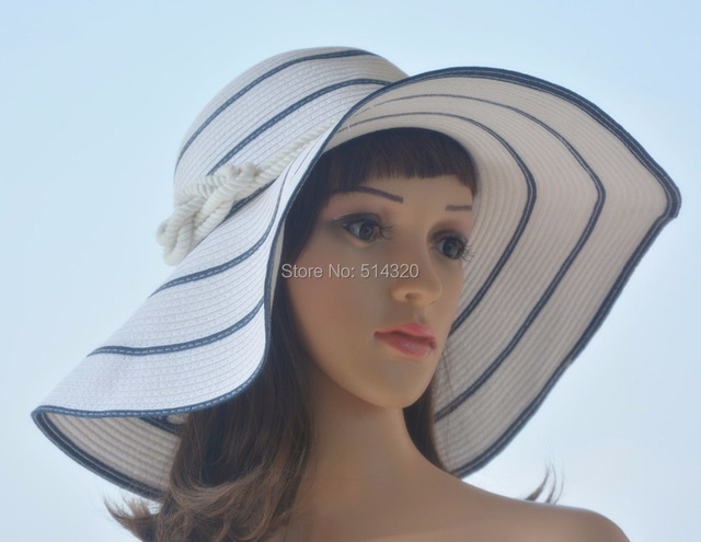 A180 Sailor Strip Womens Racing Sun Wide Brim Straw Hats Church Kentucky Derby