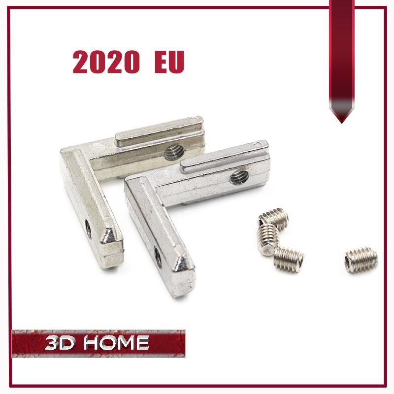 Prix pour 50 pcs/lot T Fente L Forme Type 90 Degrés 2020 L'UE En Aluminium Profil Accessoires À L'intérieur Coin Connecteur Support Avec M4 vis