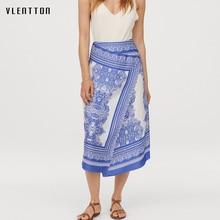 купить 2019 Spring Summer New Boho Vintage Women's Skirt Asymmetry Print Midi Skirt High waist Chiffon Women Skirts Saia Jupe Femme по цене 991.95 рублей