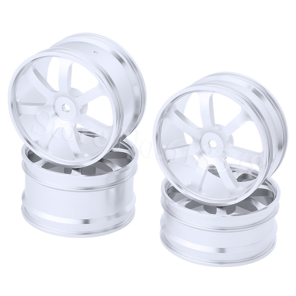 4PCS Front & Rear Aluminum Wheel Rims 12mm Hex Hub Diameter:62mm 7 Spokes CNC For HSP Redcat Exceed RC 1/10 Off Road Buggy billet rear hub carriers for losi 5ive t